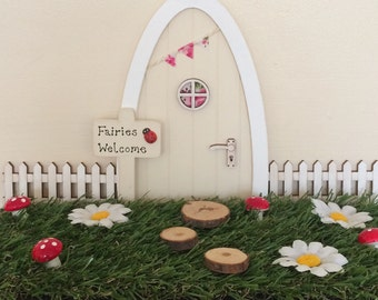 Fairy Door Lawn, Indoor Artificial Grass Fairy Garden, Fairy Lawn, Miniature Garden, Picket Fence & Stepping Stones, Fairy Door Accessories