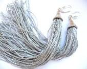 Tassel Earrings, Long Tassel Earrings, Fringe Earrings, silver tassel earrings, silver tassel, silver, Long earrings, long tassel earrings,