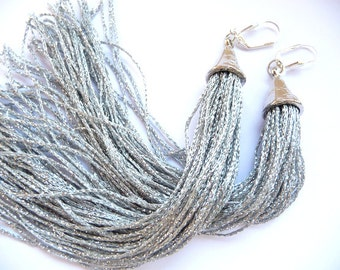 Tassel Earrings, Long Tassel Earrings, Fringe Earrings, silver tassel earrings, silver tassel, silver, Long earrings, long tassel earrings,