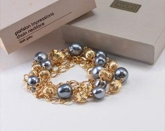 Vintage 1987 Signed Avon Parisian Impressions Gold Tone Faux Pearl Grey Gray Figaro Chain Necklace in Original Box NIB