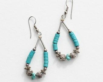 Vintage Turquoise Semi Precious Gemstone Blue Stone and May Be Heishi Shell Silvertone Rose Beaded Flower Drop Dangle Pierced Earrings