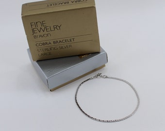 Vintage 1983 Signed Avon Genuine Sterling Silver Cobra Chain Size LARGE .925 Classic Simple Bracelet in Original Box NIB