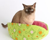 Cat Canoe Cat Bed in Spring Green and Pink a Flower Pet Bed