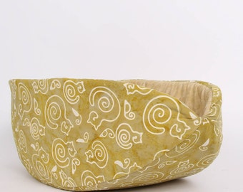 Cat Canoe Modern Cat Bed in Neutral Khaki Batik Cats
