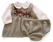 knitted baby set dress and diaper cover. Taupe. Felt flowers. 100% merino wool. READY TO SHIP size newborn