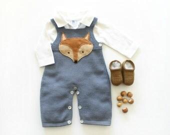 Knitted baby overalls, grayish blue, felt fox, little shoes. 100% merino wool. READY TO SHIP size Newborn.