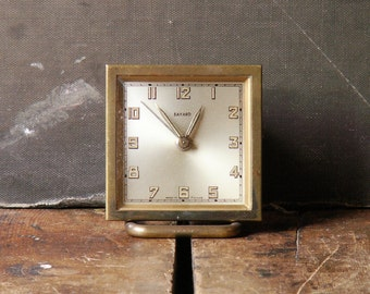 Vintage Square French Travel Size Alarm Clock from Bayard