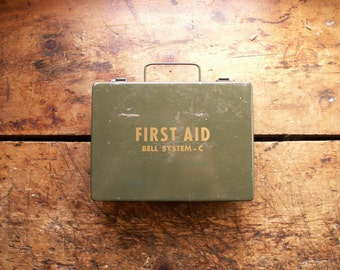 Vintage Bell Systems Wall Mount Army Green First Aid Kit - Filled with Original Supplies