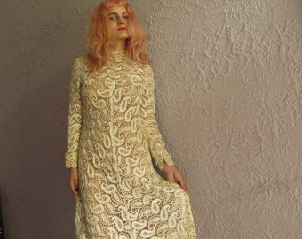 60s Vintage Crochet  Lace Dress Medium