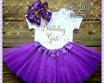Birthday Girl Outfit, Sofia the first tutu set,sparkly gold glitter birthday purple tutu, purple and gold smash cake outfit~~