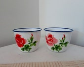 French Enamelware Cups Pair with Pretty Roses