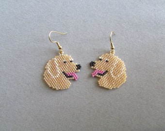 Beaded Golden Retriever Earrings