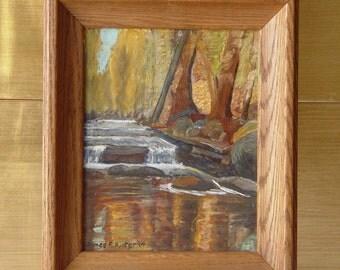 Vintage Framed Landscape Waterfall in Woods Oil PAINTING ~ Signed James R. Hunter '64