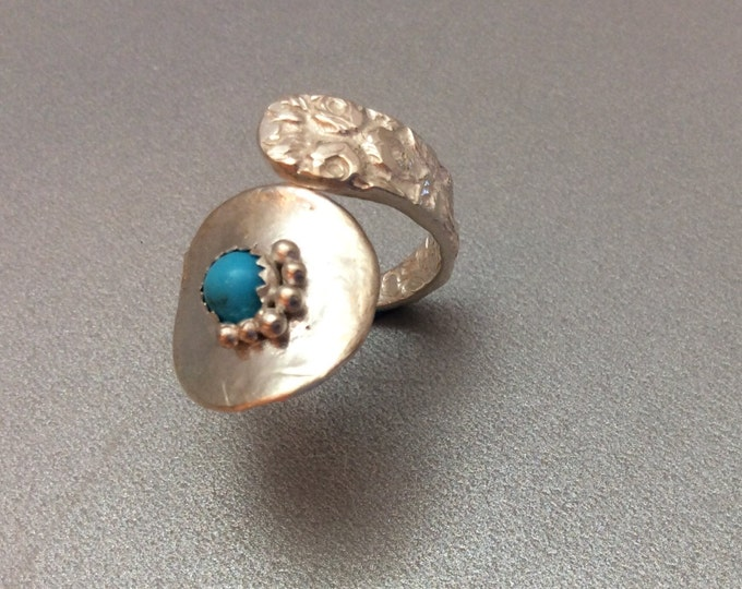 Sterling Silver Salt Spoon Ring with Sleeping Beauty Stone