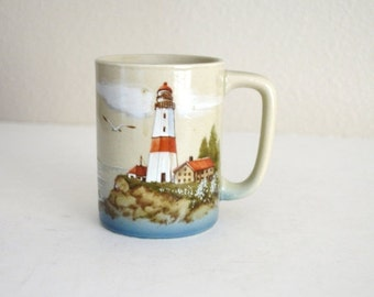 Fall SALE 20% Off - Vintage 70s 80s Otagiri Japan Made Lighthouse Sailboat Coffee Mug Cup