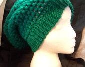 Sale! 5 Dollar Shamrock Green Puff Stitch Hand Crocheted Slouch Beanine