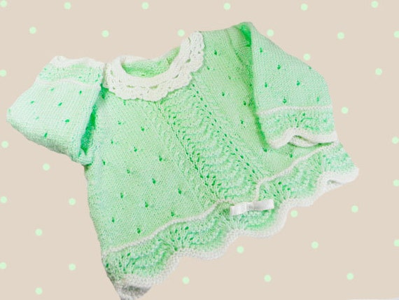 Hand-knitted baby sweater, knitted baby cardigan, green baby sweater, kids sweater,  READY TO SHIP