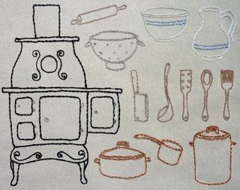 Farmhouse Kitchen Hand Embroidery Pattern. Classic Series