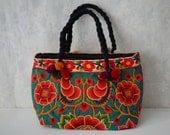 Thai Embroidered bag, Thai Pom Pom handbag, Hmong Bag, Hilltribe Bag, Thai Tote Bag, Bohemian bag, Ethnic Handbag