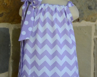 Lavender  Chevron and Polka Dot  Pillowcase Dress