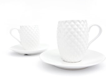 Espresso Set, Two Hot Chocolate cups, Two Handmade Coffee Cups, Pineapple Cups