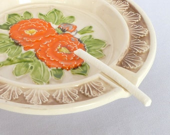 VINTAGE Orange POPPY ASHTRAY