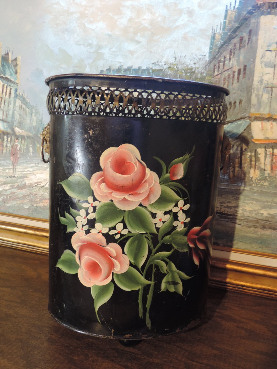 Vintage Trash Can French Country Home Decor Hand Painted Rose