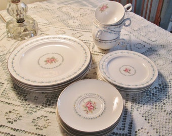 shabby chic china set vintage pink rose dishes 16 pc 4 pc setting cottage decor pink aqua shabby cottage