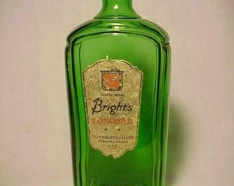 c1930s Bright's Concord Wine T. G. Bright & Co. Niagara Falls, Original Emerald Green Labeled Wine Bottle