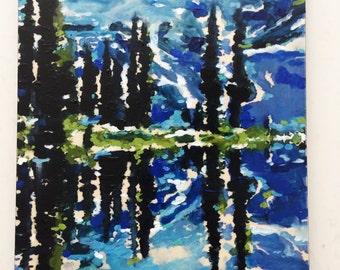 Mountain Reflection- Painting on Birchwood