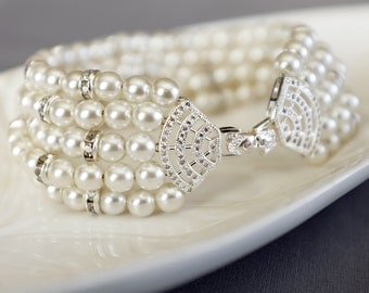 Bridal Pearl Rhinestone Bracelet Crystal Bracelet White Gold Filled Crystal Clasp Wedding Jewelry White or Ivory Pearl BL075LX