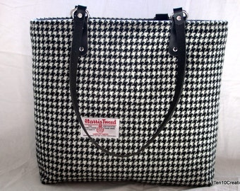 Harris Tweed Small Tote Bag in Black and White Houndstooth