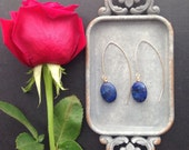 Lapis Lazuli Earrings, Gold Blue Stone Earrings, Modern Gold Wire Earrings, Lapis Lazuli Jewelry