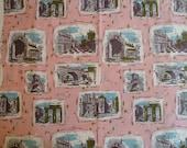 "Vintage Pink Cotton Print Fabric Yardage, Waverly ""Roman Holiday"""