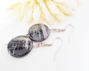 Graffiti Earrings, Black Shell Earrings, Urban Black Earrings, Black Beaded Earrings, Mother of Pearl, Silver Black Earrings, Black Jewelry