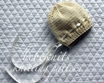 Bebeknits Bella Baby Bonnet Knitting Pattern