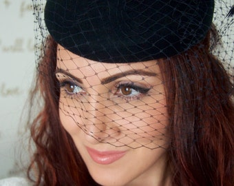 Wool Winter Hat - Black Wool Fascinator with Black Birdcage & Feathers