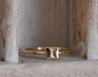 14 K yellow gold- simple  stack up ring- hand hammered- hand crafted one of a kind