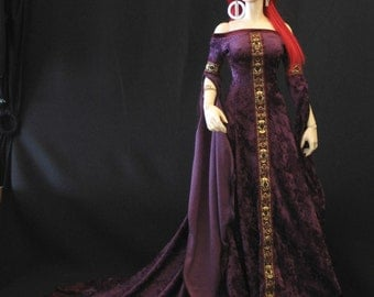 Royalty Purple Medieval gown for EID large bust BJD by Iplehouse