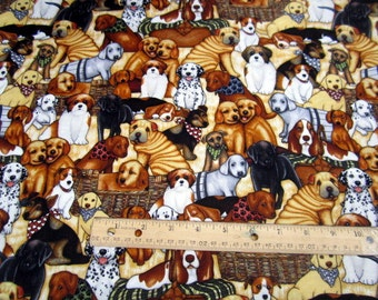 Its A Ruff Life Dogs Packed Cream premium cotton fabric from Dan Morris for Quilting Treasures
