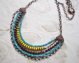 Ethnic Tribal look turquoise and yellow copper necklace earrings set, Boho multi strand, Sleeping Beauty Turquoise