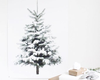 snowy tree print, perfect little winter Christmas tree poster, minimalist winter, festive childrens room decoration