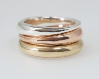 Stacking wedding rings - 18 ct or 14 ct yellow gold - rose pink gold ring - non traditional alternative wedding ring - Free Shipping