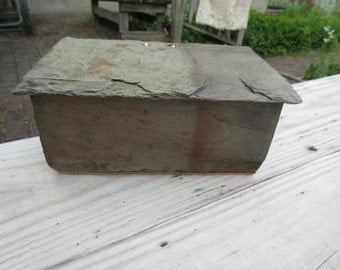 Salvaged slate with 80 years of weather is made into a slate box with hinged lid. #ML-31