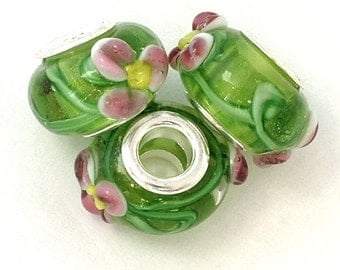 Murano Glass Lampwork Silver Plated Beads to fit European Style Charm Bracelet, pkg of 1 bead |ES-057-ST