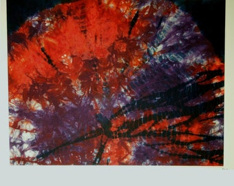 Looming reds and purples shibori framed art