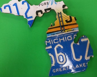 State of Michigan License Plate Map - Upcycled Art