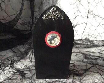 Black Raven Filigree Goth Wood Coffin Box
