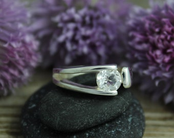 Sterling Silver Tension Set White Topaz Ring - Tarnish Resistant Recycled Silver - Eco Friendly - Ready to Ship Size 5-9