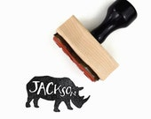 Custom Rhino Name Stamp - Custom Personalized Name Rhinoceros Animal - Wood Mounted Rubber Stamp - DIY Kids Craft Party